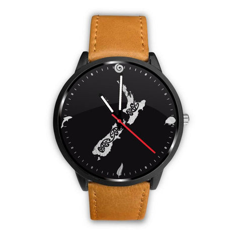 New Zealand Cultural Leather/steel Watch A3 Mens 40Mm / Brown Leather-Steel Watches