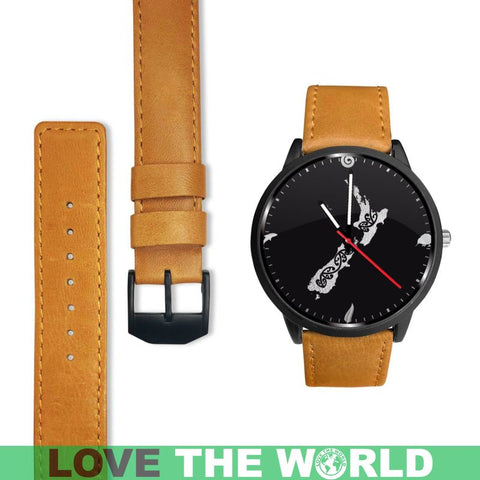 New Zealand Cultural Leather/steel Watch Y3 Mens 40Mm / Brown Leather-Steel Watches