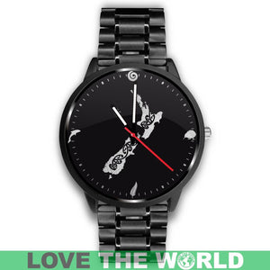 NEW ZEALAND CULTURAL LEATHER/STEEL WATCH A3