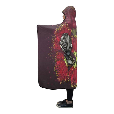New Zealand Fantail Pohutukawa Hooded Blankets H9 One Size / Hooded Blanket2 Hooded Blanket 80X56