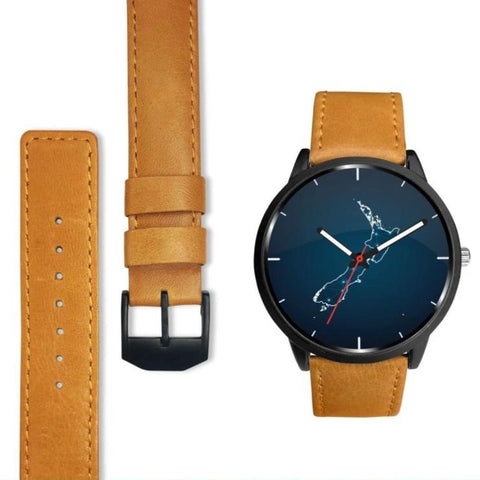 New Zealand Polygonal Map Leather-Steel Watch D6 Mens 40Mm / Brown Watches