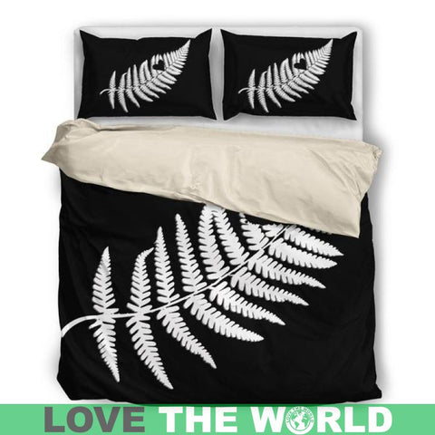 Image of New Zealand-Silver Fern-Bedding Set Na1 Bedding Set - Black Fern Black / Twin Bedding Sets