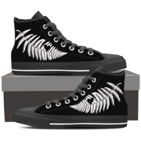 New Zealand-Silver Fern High Top Canvas Shoes D7 Mens High Top - Black 8 / Us8 (Eu40)
