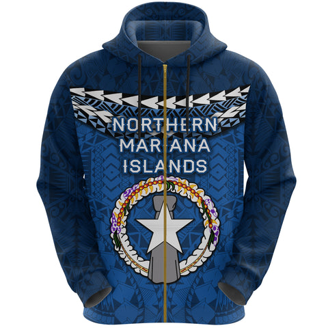 Northern Mariana Islands Polynesian Zip Hoodie - Vibes Version K8