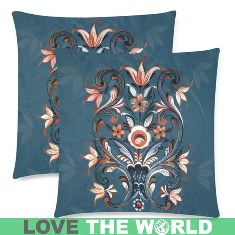 Norway - Rosemaling Folk Art Zippered Pillow Case - Cushion Cover