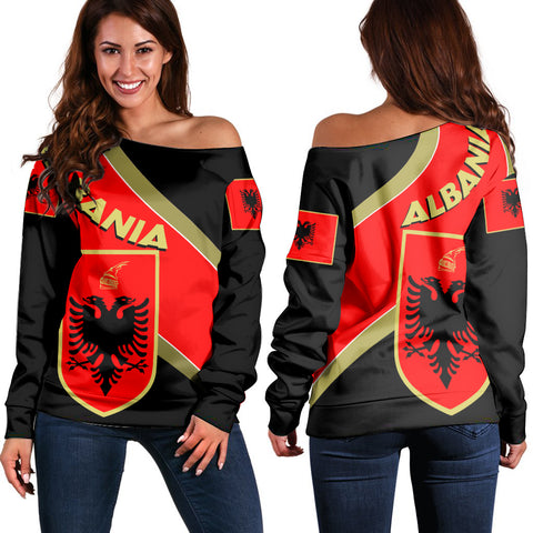 Albania Off Shoulder Sweater - Special Flag