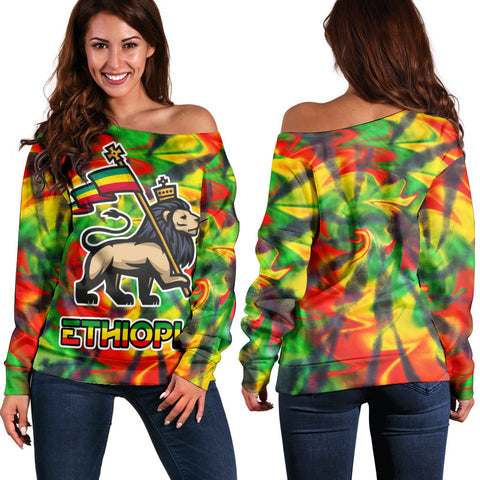 Ethiopia Lion Flag  Off Shoulder Sweater - Tie Dye Style A21