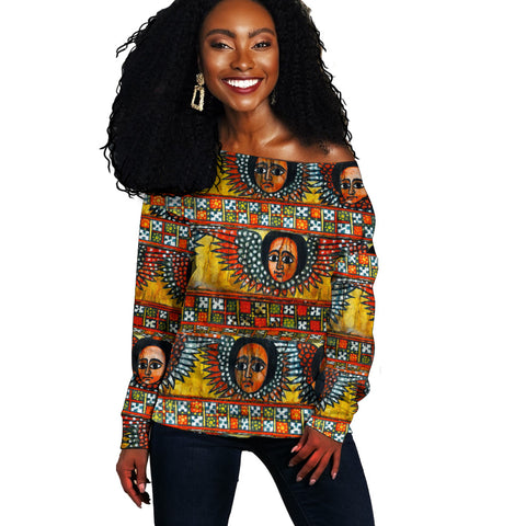 Ethiopia Off Shoulder Sweater Debre Birhan Selassie Church Pattern