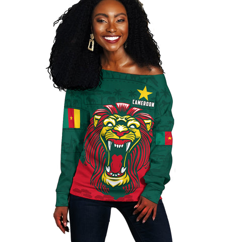 Image of Cameroon Off Shoulder Sweater Lion | Clothing
