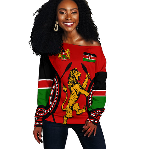 Image of Kenya Lion Off Shoulder Sweater Maasai Shield | Clothing | Love Kenya front