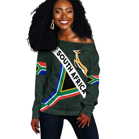South Africa Off Shoulder Sweater Springbok Miss Style front | Clothing