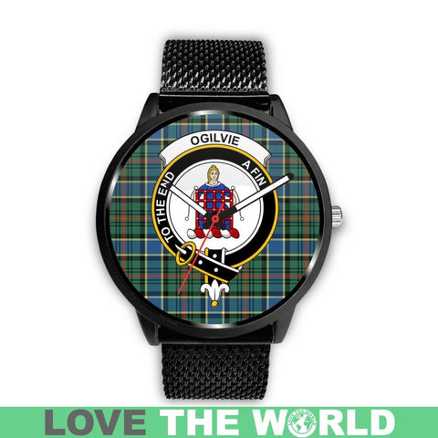 Ogilvie Hunting Ancient Clan Badge Tartan Leather/Steel Watch - Bn |Men and Women| 1sttheworld