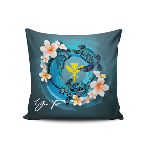 (Custom) Kanaka Maoli (Hawaiian) Pillow Cases - Blue Plumeria Animal Tattoo Personal Signature A24