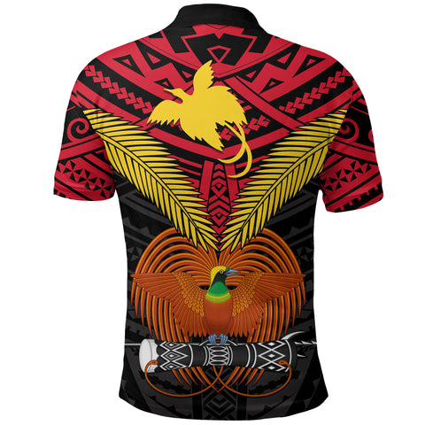Image of Papua New Guinea Polo Shirt Bird of Paradise back | 1sttheworld