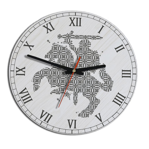 Lithuania Vytis Pattern Wooden Wall Clock