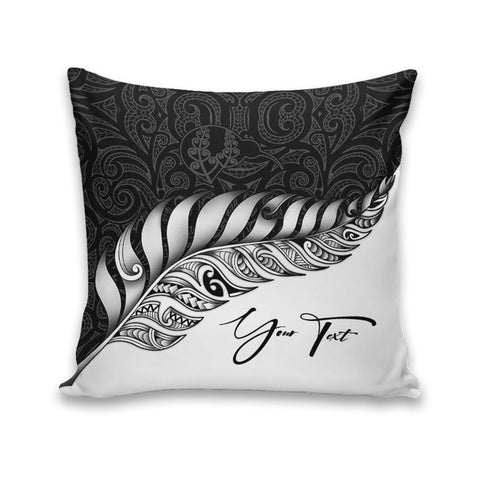(Custom) New Zealand Leather Pillow Case Silver Fern Kiwi Personal Signature A02
