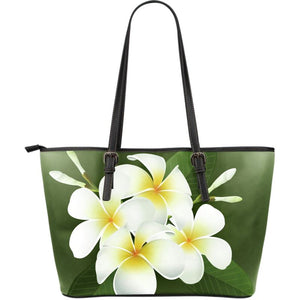 Plumeria Flower Large Leather Tote G8 Totes