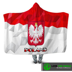 POLAND FLAG COAT OF ARM HOODED BLANKET - BN01