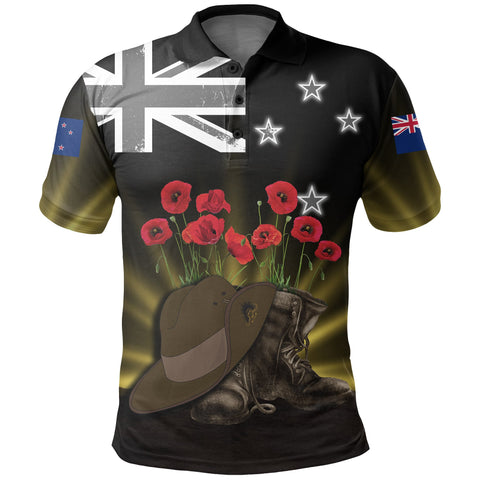 New Zealand Anzac Day Polo Shirt -  Lest We Forget Hat And Boots Poppies | Love The World