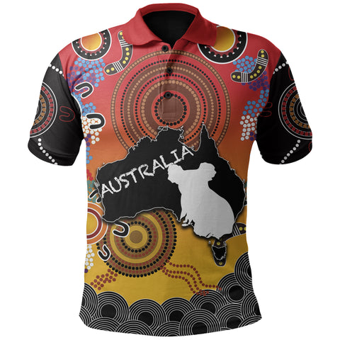 Australia Aboriginal Polo Shirt With Map