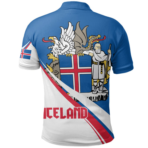 (Custom) Iceland Polo Shirt Flag Coat Of Arms Wavy Lines A10