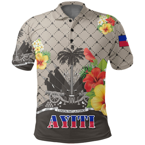 Haiti Polo Shirt - Coat of Arms Hibiscus Plumeria Light Brown | Love The World