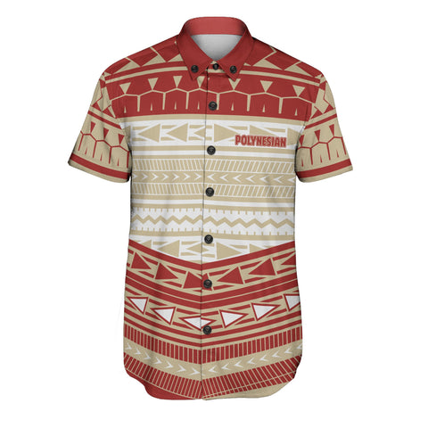 Image of Polynesian Men's Short Sleeve Shirt - Red Style - BN10
