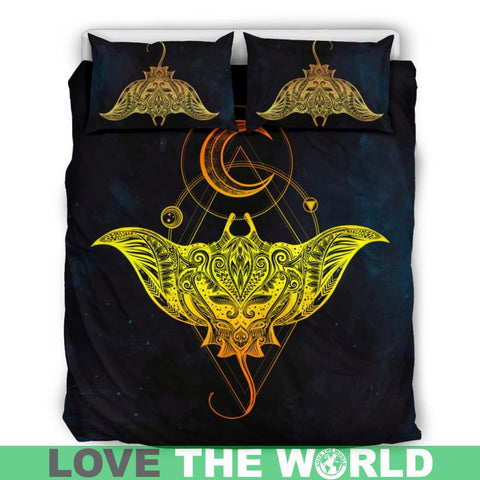 Polynesian Manta Bedding Set - Hm1 Bedding Set Black Black Mantis / Twin Sets