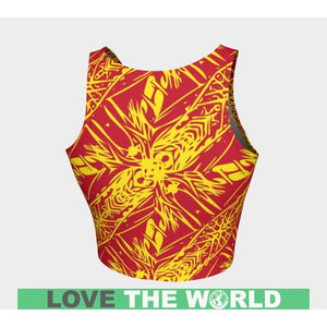POLYNESIAN PATTERN 06 ATHLETIC CROP TOP H4