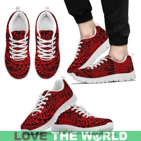 Polynesian Pattern Sneaker Hj4 - Red Mens Sneakers Black / Us5 (Eu38) Shoes