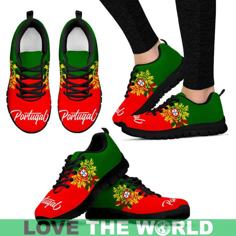 Funny Portugal Flag And Coat Of Arms Sneakers 02 NN8