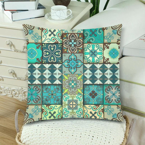 Image of Portuguese tiles in talavera style pillow case 2 - portuguese tiles, talavera style, pillow case, zippered pillow, home set, online shopping