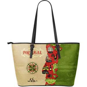 Portugal Unique Map Large Leather Tote Bag NN9 Totes