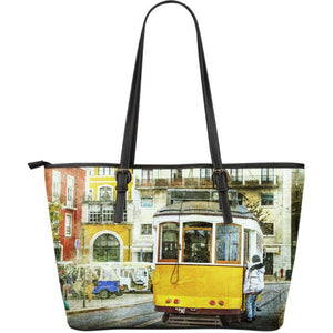 Portugal Vintage Tram 28 Large Leather Tote Bag NN9 Totes