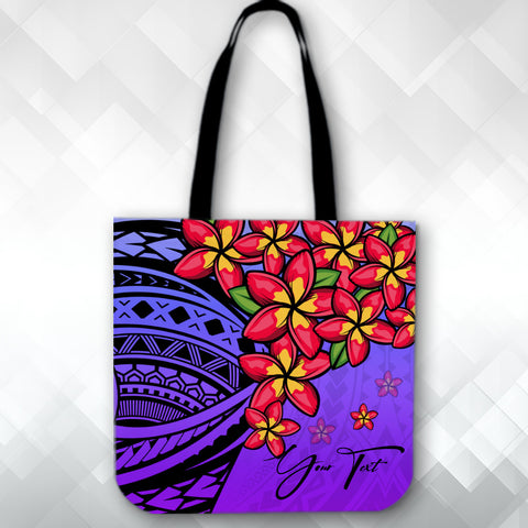 (Custom) Polynesian Plumeria Purple Tote Bag Personal Signature A24