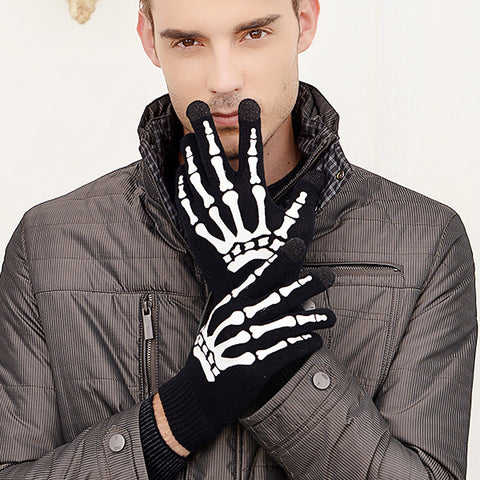 1 Pair Claw Glovesplastic Knitted Wool Ghost Bone Gloves/ Men Women Halloween Party Skull Skeleton Gloves TH7