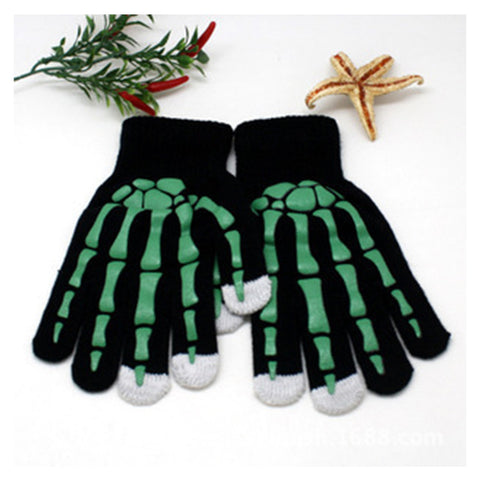 Image of 1 Pair Claw Glovesplastic Knitted Wool Ghost Bone Gloves/ Men Women Halloween Party Skull Skeleton Gloves TH7