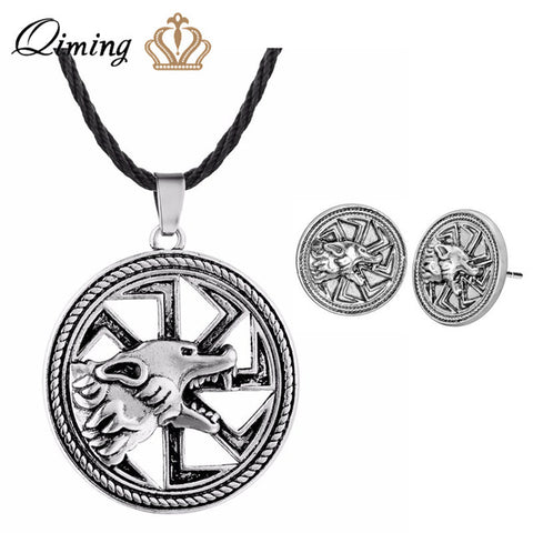 QIMING Antique Silver Fashion Necklace Men Overcoming Grass Slavic Amulet Fern Flower Protect Against Illnesses Necklace - ABC1