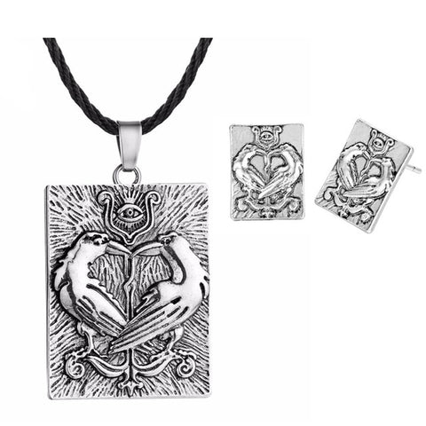 Image of QIMING Antique Silver Fashion Necklace Men Overcoming Grass Slavic Amulet Fern Flower Protect Against Illnesses Necklace - ABC1