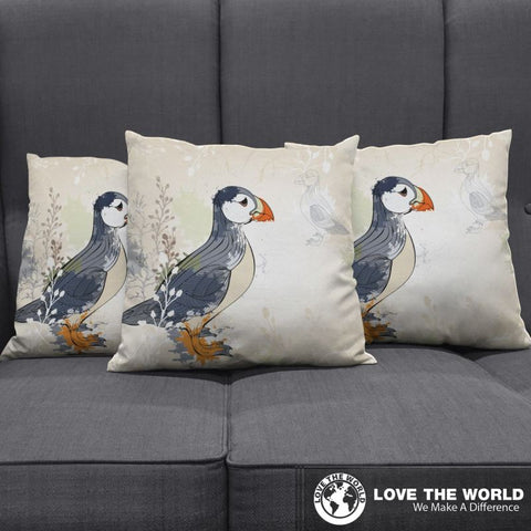Puffin In Iceland Pillow Cover - puffin, pillow cover, home decor, iceland pillow cover, online shopping