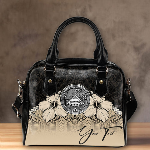 Image of  (Custom) American Samoa Shoulder Handbag Hibiscus Personal Signature | Special Custom Design