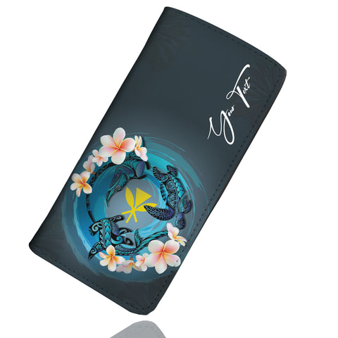 (Custom) Kanaka Maoli (Hawaiian) Wallet Women - Blue Plumeria Animal Tattoo Personal Signature A24