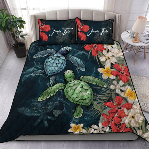 Kanaka Maoli (Hawaiian) Quilt Bed Set - Sea Turtle Tropical Hibiscus And Plumeria Personal Signature | Love The World