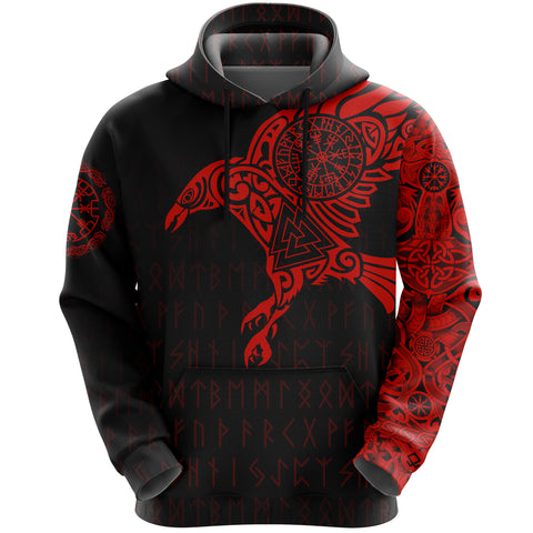 Vikings - The Raven Of Odin Tattoo Hoodie Red A7