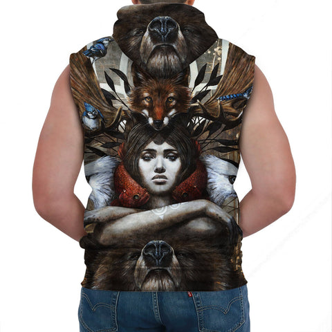 1stCanada Special Vintage Art Sleeveless Hoodie A7