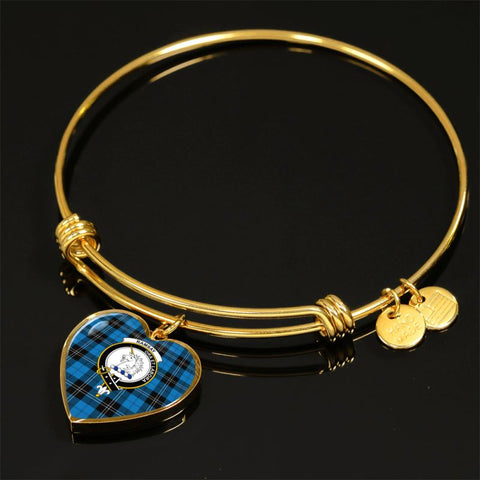Image of Ramsay Blue Ancient Tartan Golden Bangle - Bn Adjustable Bangle Jewelries