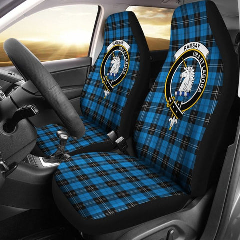 Ramsay Tartan Car Seat Cover - Clan Badge
