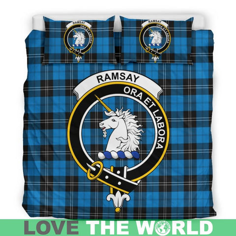 Ramsey Blue Ancient Tartan Clan Badge Bedding Set Th1 Bedding Set - Black Black / Queen/full Sets