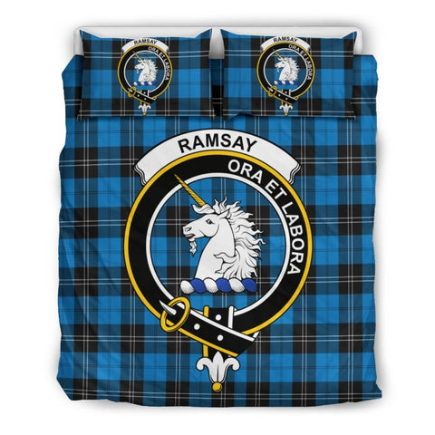 Ramsey Blue Ancient Clan Badge Tartan Bedding Set Th1 Bedding Set - Black Black / Queen/full Sets