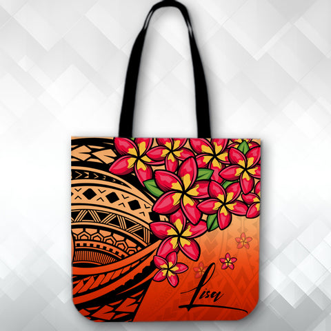 Image of (Custom) Polynesian Plumeria Red Tote Bag Personal Signature A24